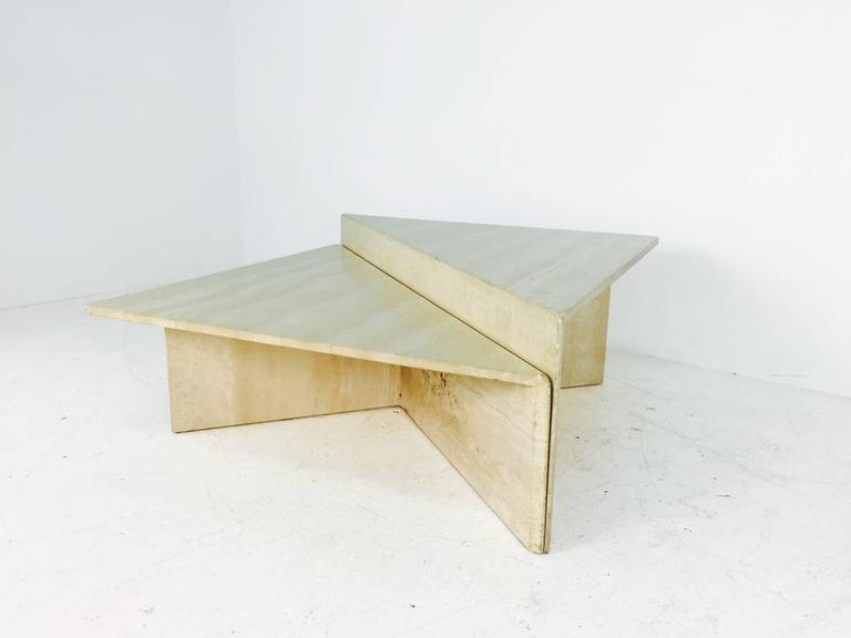 Travertine Marble Two Piece Two Tier Coffee Table At 1stdibs