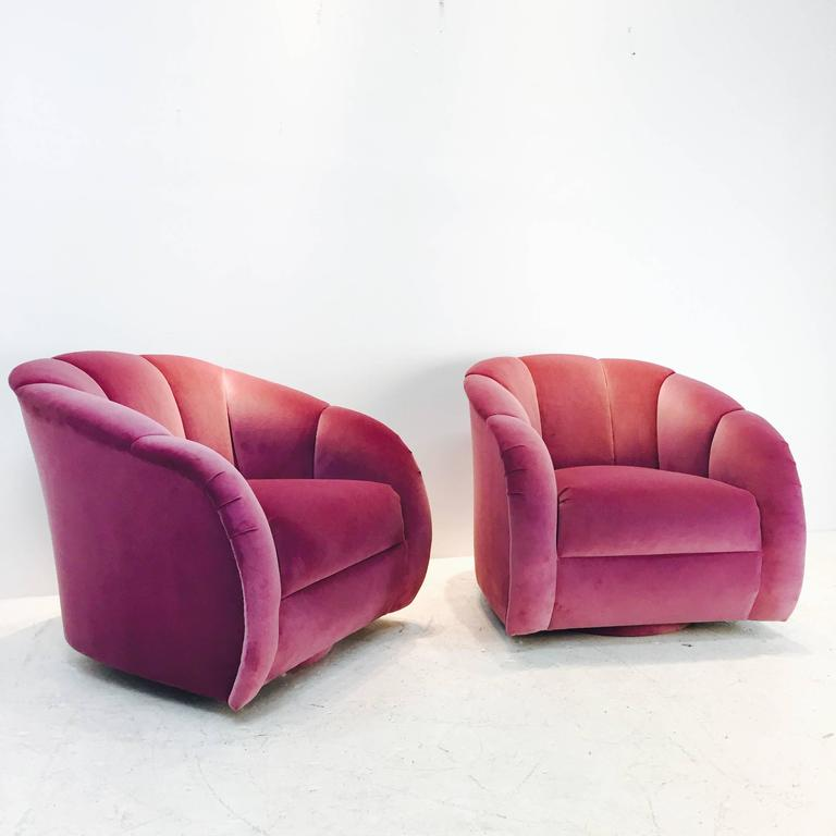 Pair of Channel Back Swivel Chairs in Orchid Velvet at 1stdibs