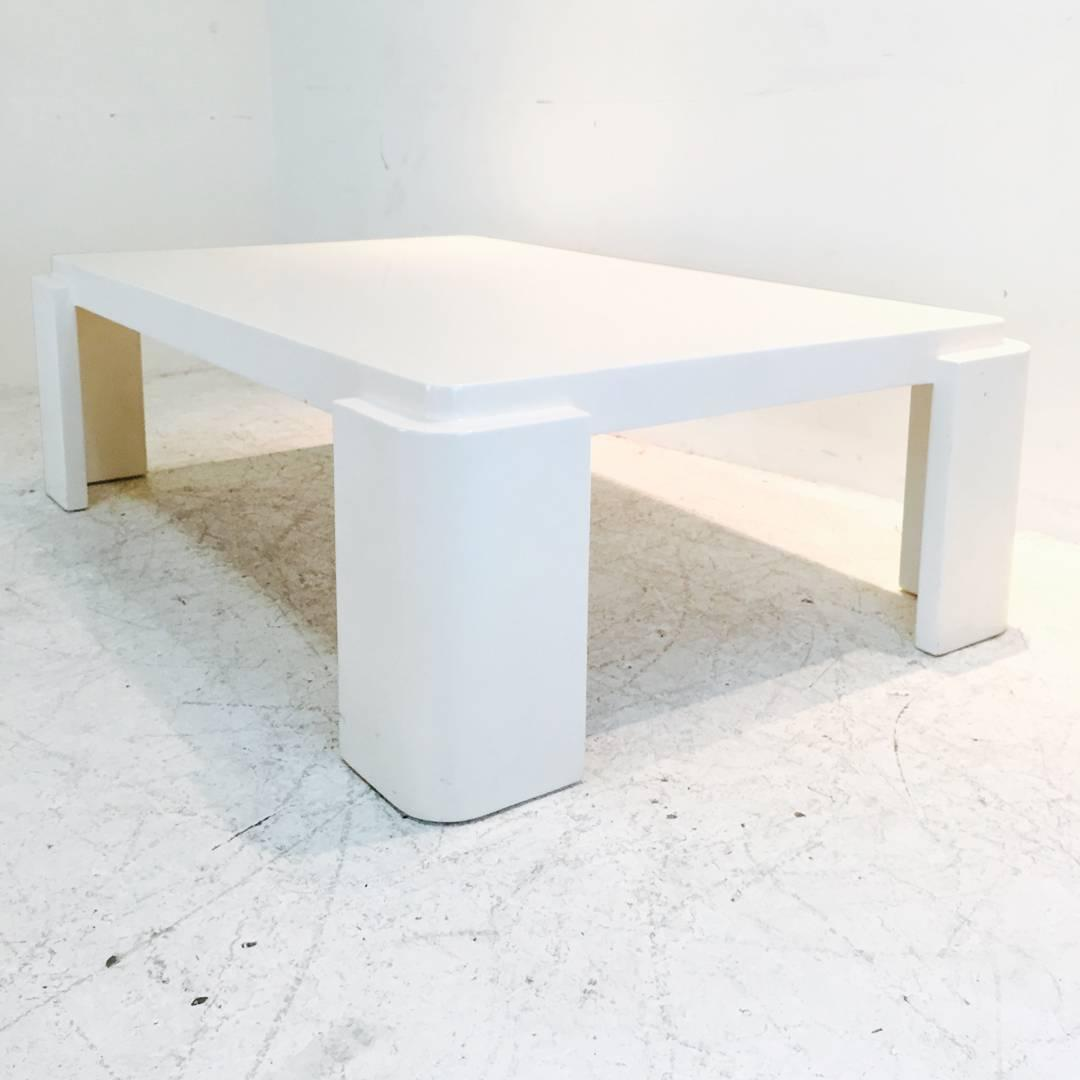 Monumental White Lacquer Coffee Table With Rounded Corners For Sale At 1stdibs