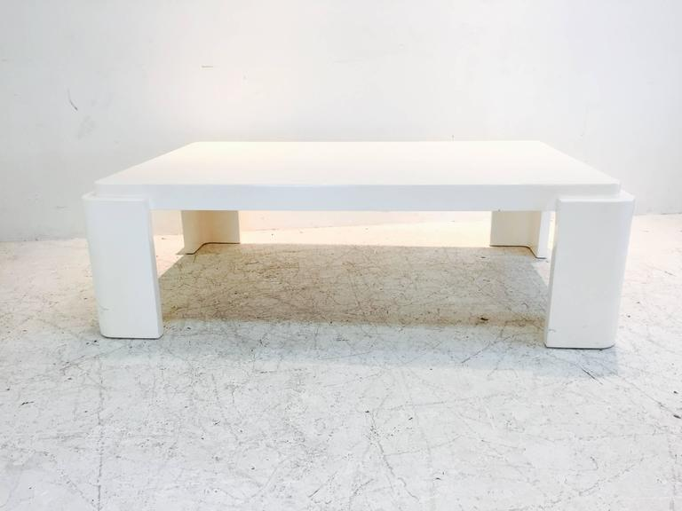 Monumental White Lacquer Coffee Table With Rounded Corners
