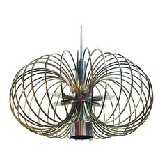1970s MCM Brass Bird Cage Chandelier by Sciolari with Nickel Accents