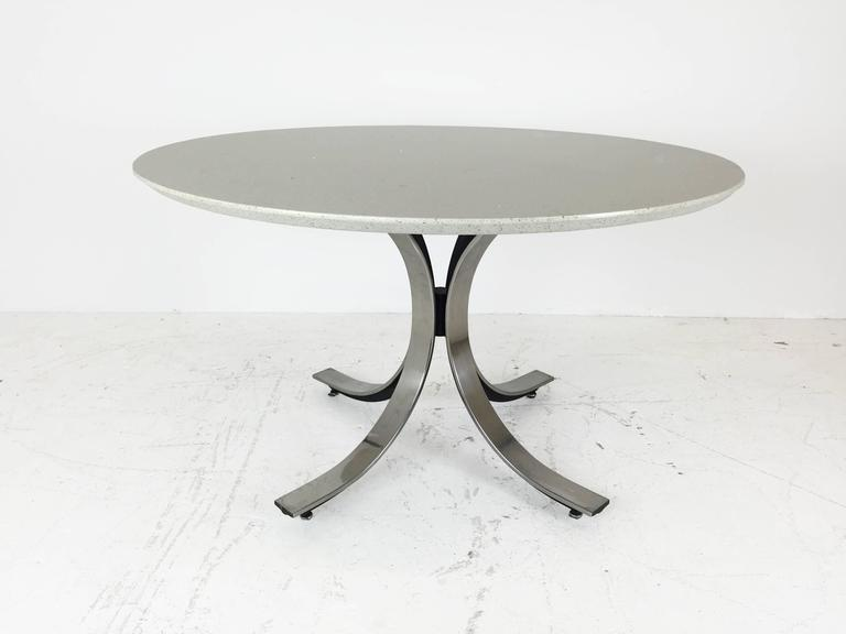 Four Legged Chrome Base Round Dining Table with White  : IMG1398copyl from www.1stdibs.com size 768 x 576 jpeg 21kB