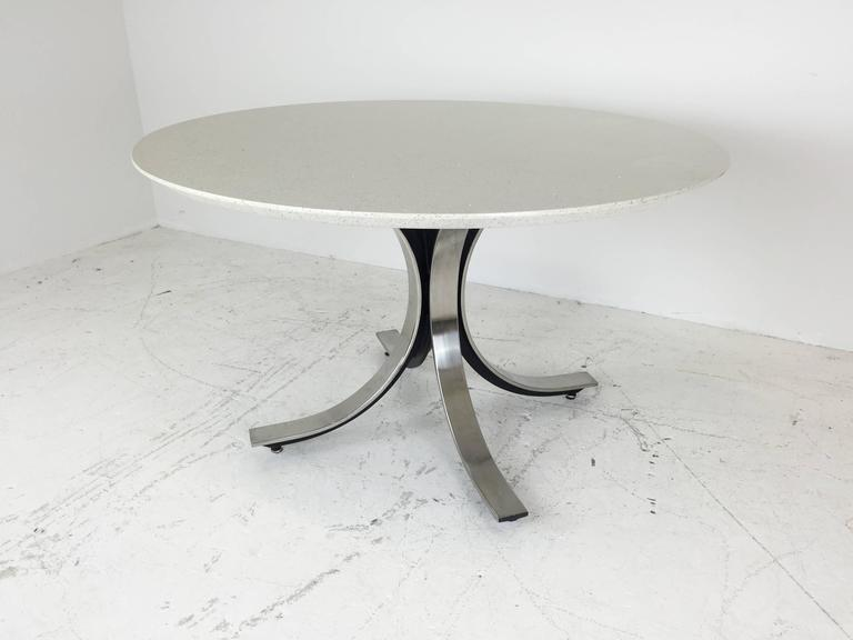 Mid Century Modern Four Legged Chrome Base Round Dining Table With White Quartz Top