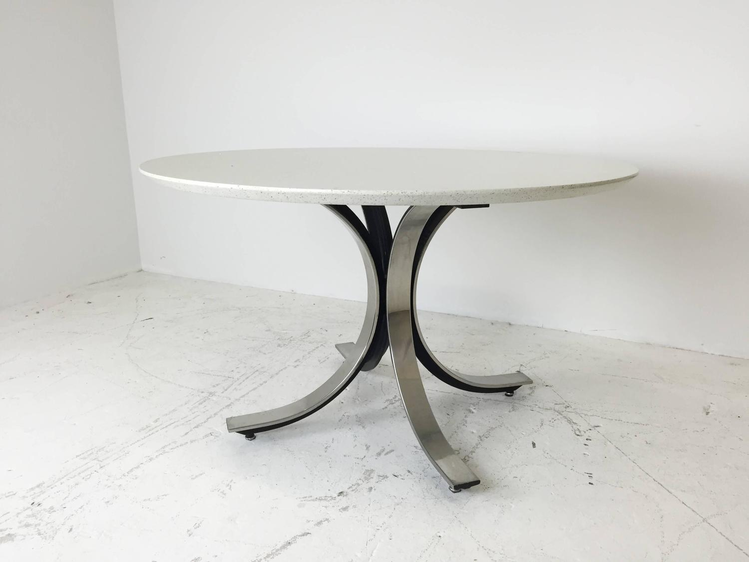 Four Legged Chrome Base Round Dining Table With White