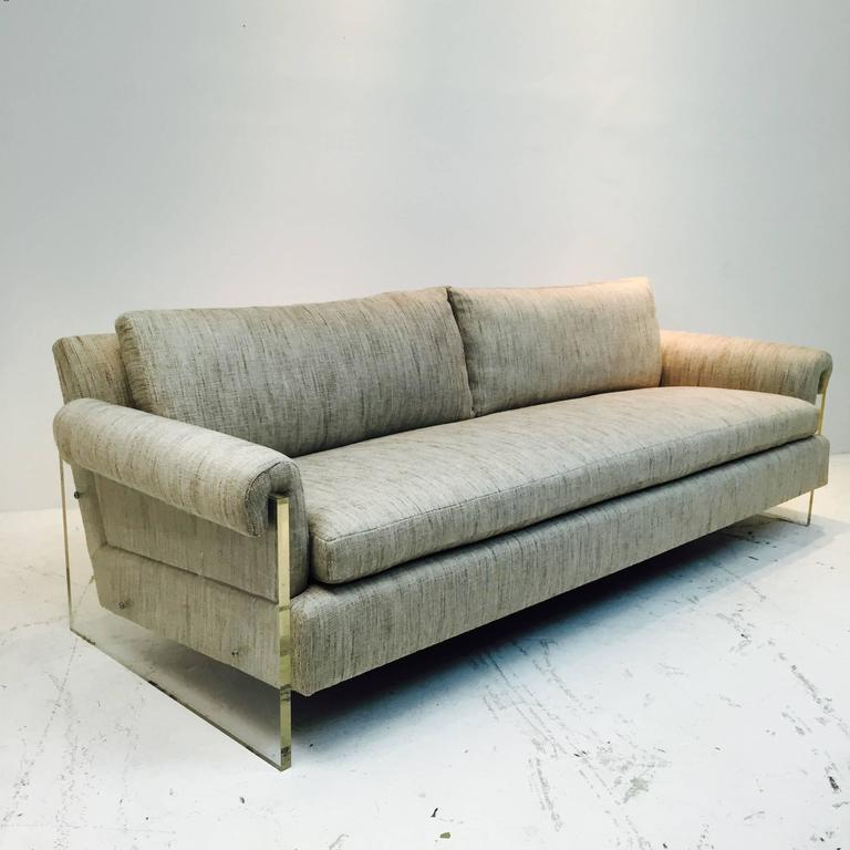 Vintage Lucite Sofa With New Upholstery Two Available At