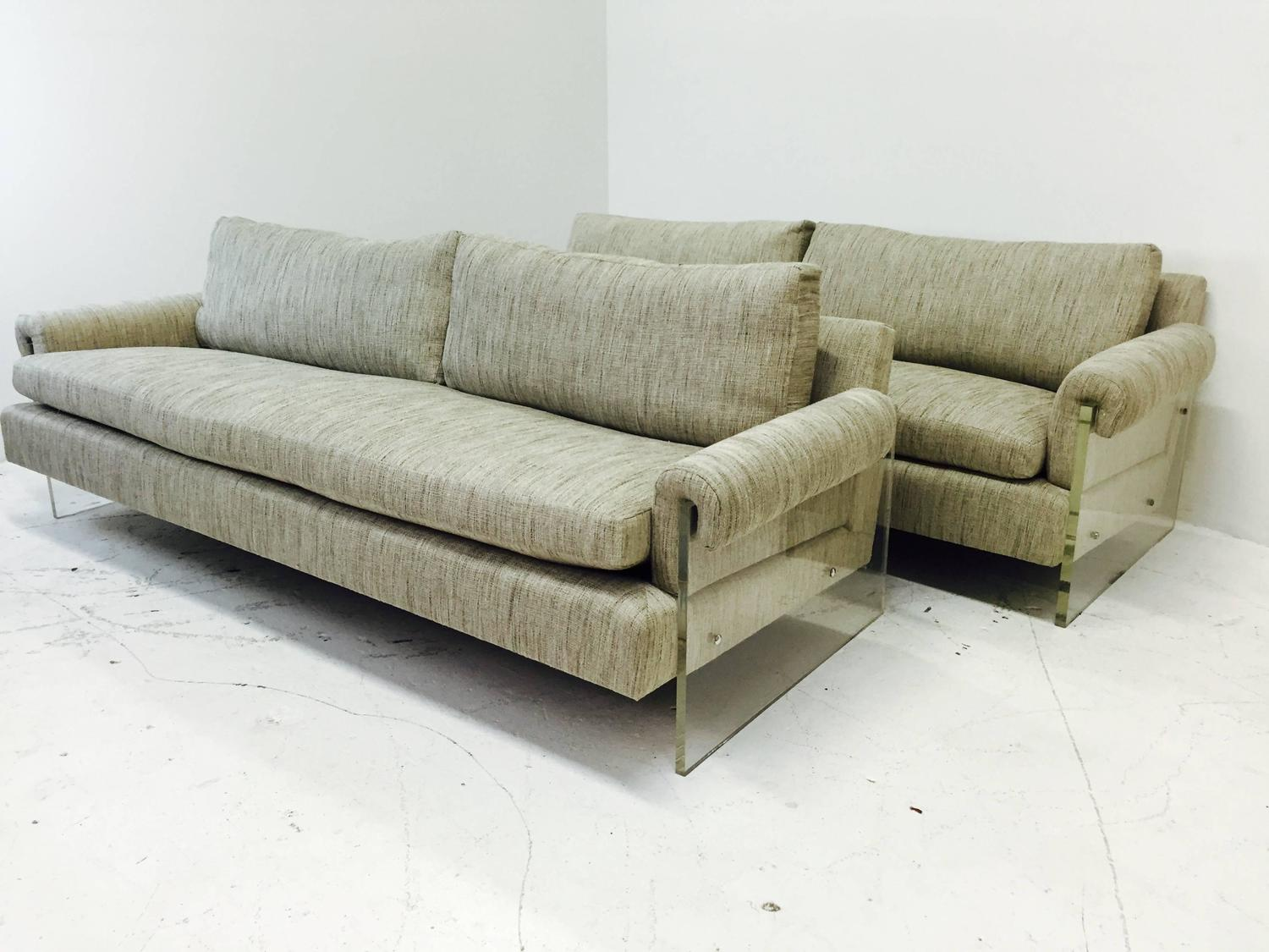 Vintage Lucite Sofa With New Upholstery Two Available For