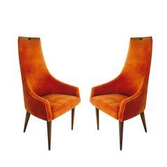 Pair of Adrian Pearsall Tall Back Armchairs in Orange Velvet