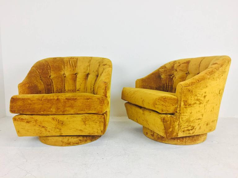 Superb Vintage Gold Velvet Swivel Chairs By Directional With Original Tags. Chairs  Are In Excellent Vintage