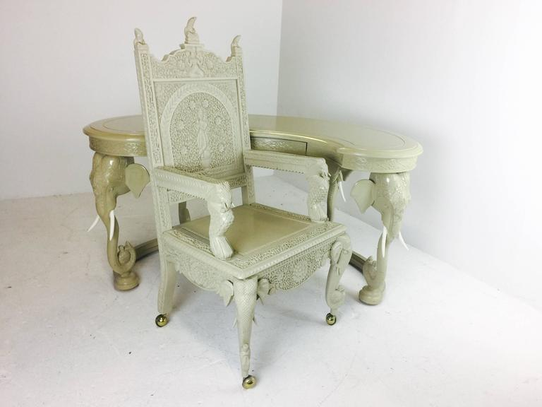 Hollywood Regency Lacquered Elephant Desk And Chair In Good Condition For Dallas