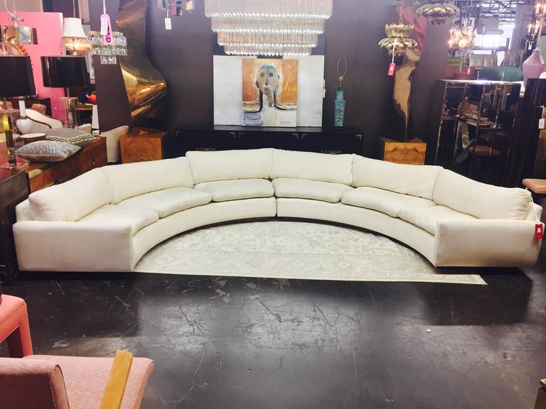 White Semicircular Sectional Sofa By Milo Baughman With Wood Plinth Base.