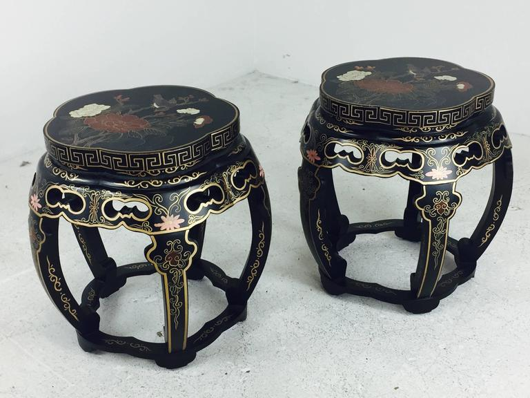 Pair Of Lacquered Asian Garden Stools For Sale 1