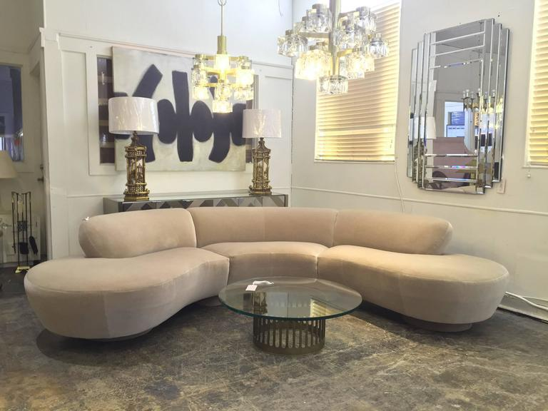 Vladimir Kagan Serpentine Cloud Sectional Sofa In Oyster Mohair. Sofa Is In  Excellent Vintage Condition