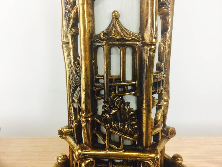 Pair of Chinoiserie Gold Lamps in the Style of James Mont For Sale 1
