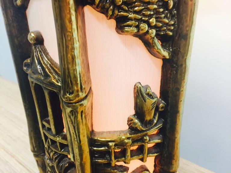 Pair of Chinoiserie Gold Lamps in the Style of James Mont For Sale 3