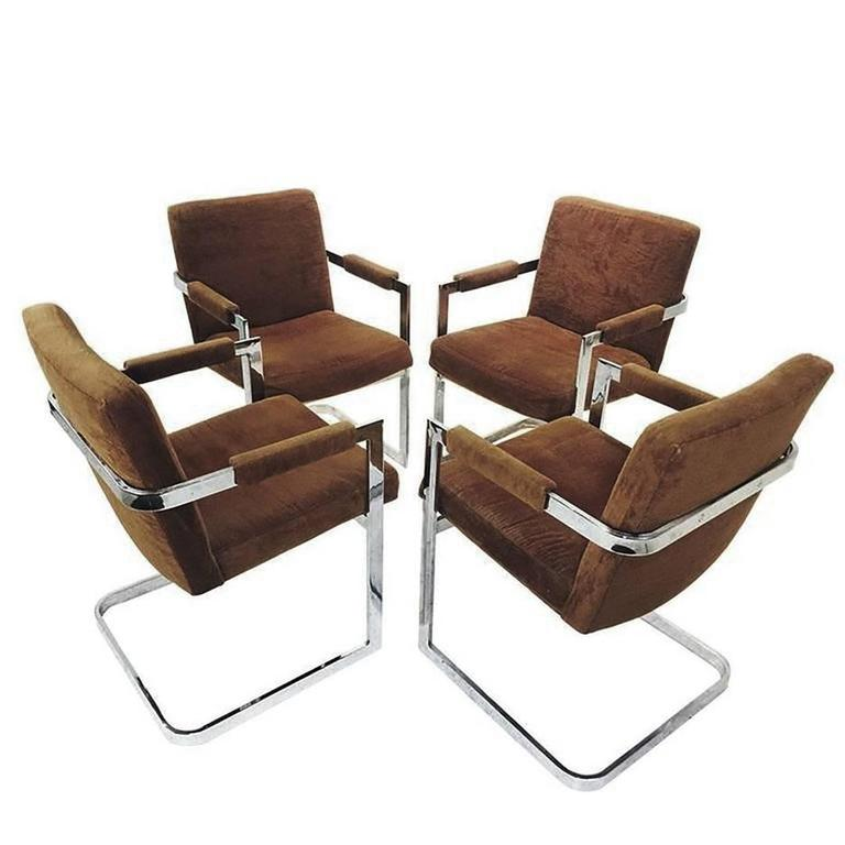 Set Of Four Brown Velvet Milo Baughman Chrome Cantilever Dining Chairs 1