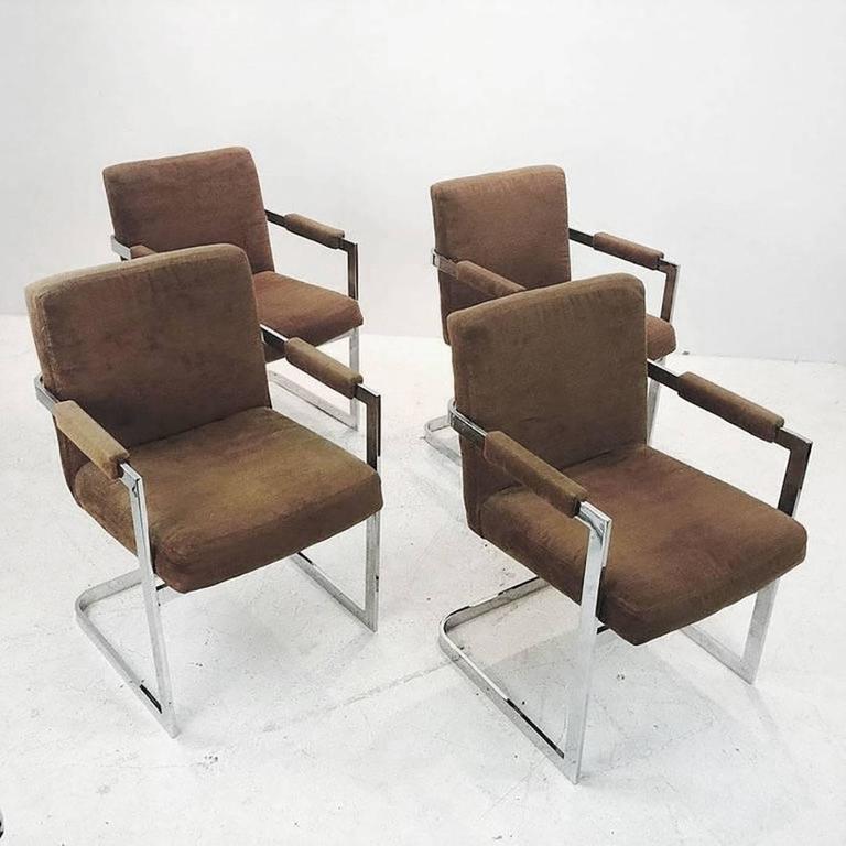set of four brown velvet milo baughman chrome cantilever