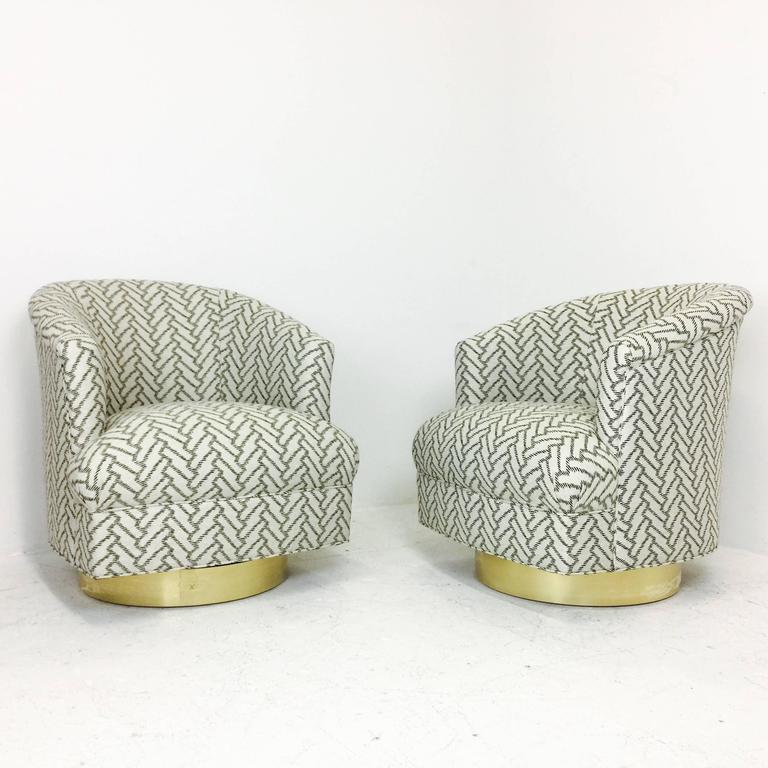 These Stunning Swivel Chairs Were Newly Upholstered In A White And Black  Herringbone Pattern And New