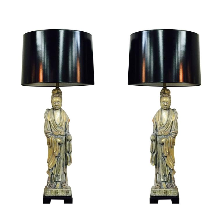 Pair of 1940s Quan Yin Table Lamps by Frederick Cooper
