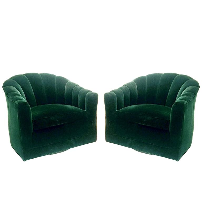 Exceptionnel Pair Of Hunter Green Velvet Channel Back Milo Baughman Swivel Chairs For  Sale