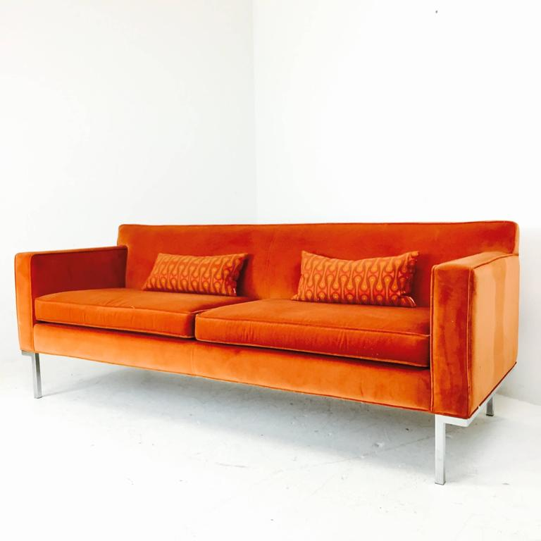 Orange Velvet Theatre Sofa By Ted Boerner For Sale At 1stdibs