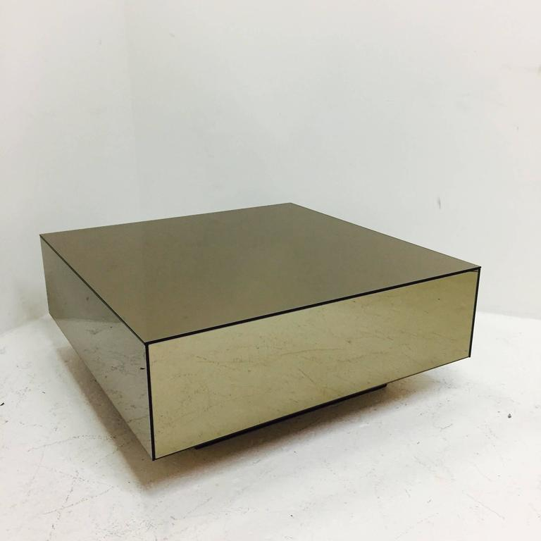 Bronze mirrored cube coffee table with plinth base at 1stdibs - Cube table basse ...