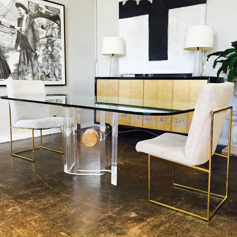 Lucite And Brass Dining Table Base With Glass Top. A Round Glass Top Will  Look