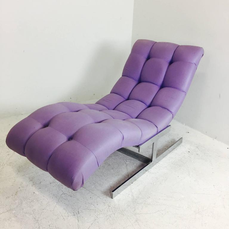 Milo Baughman Style Chaise Lounge In Good Condition For Sale In Dallas, TX