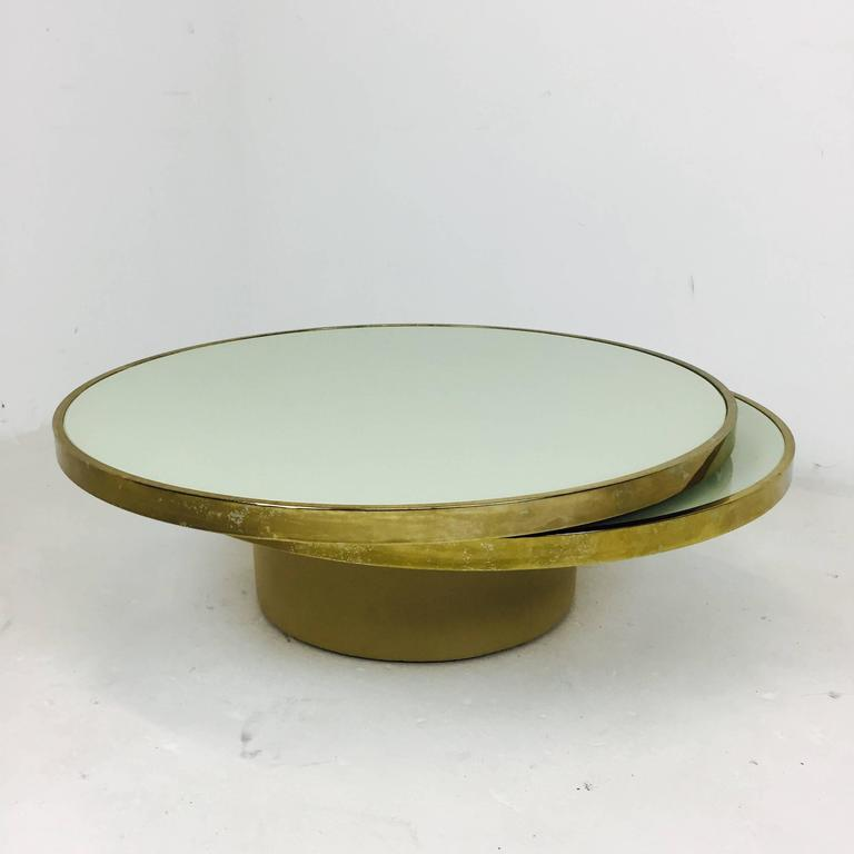 Mid Century Modern Swivel Brass And Glass Coffee Table By DIA   Design  Institute America