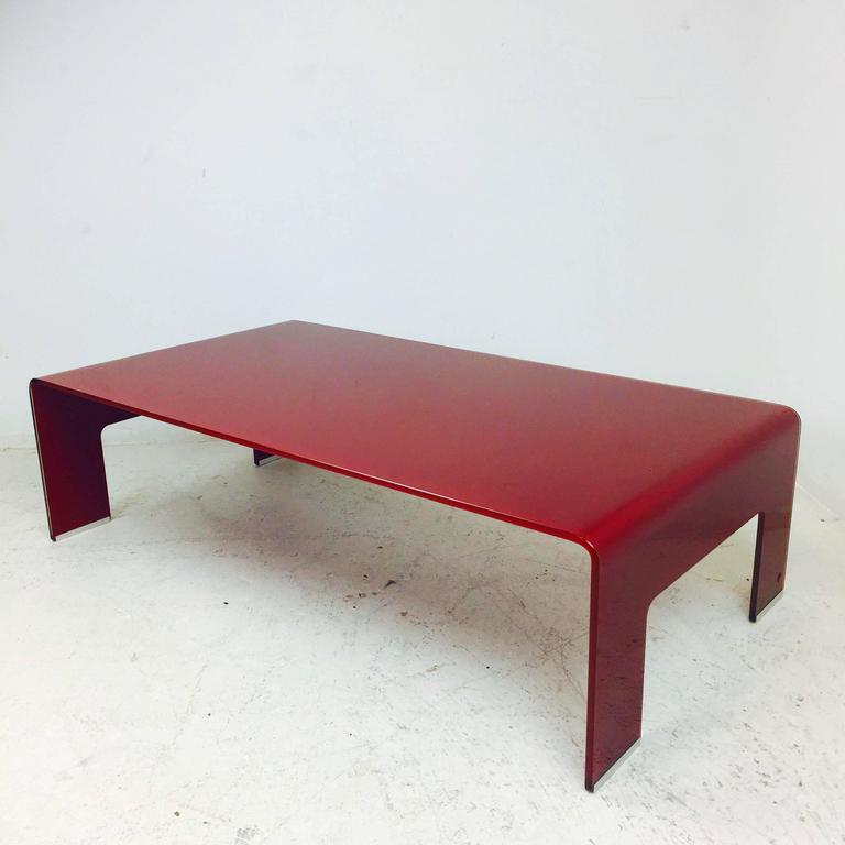 Calligaris 1923 Red Glass Waterfall Coffee Table At 1stdibs