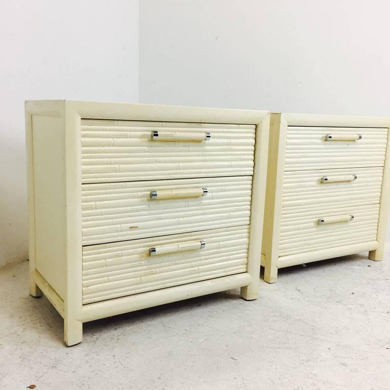 20th Century Pair of Faux Bamboo Nightstands by Century For Sale