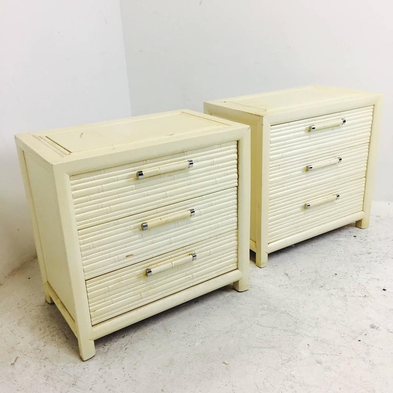 Pair of Faux Bamboo Nightstands by Century For Sale 1