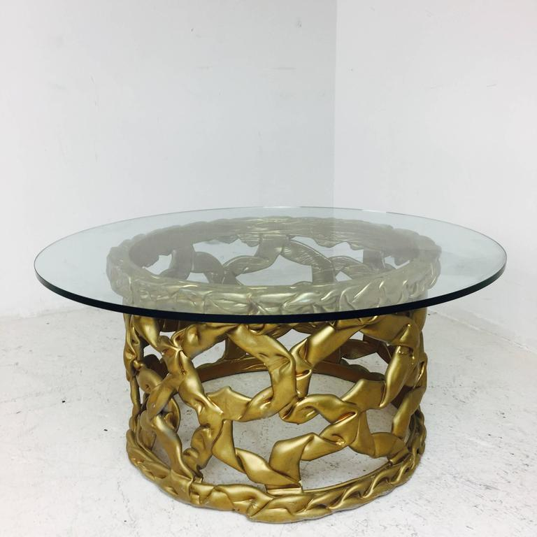"Gold ""Ribbon"" Coffee Table by Tony Duquette In Good Condition For Sale In Dallas, TX"