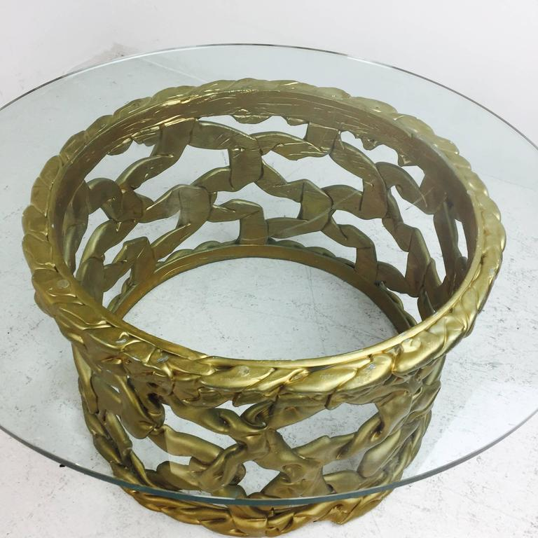 "20th Century Gold ""Ribbon"" Coffee Table by Tony Duquette For Sale"