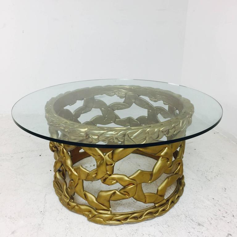 """Ribbon"" coffee table in gold resin by Tony Duquette. There is some visible wear due to age and use, circa 1960s.