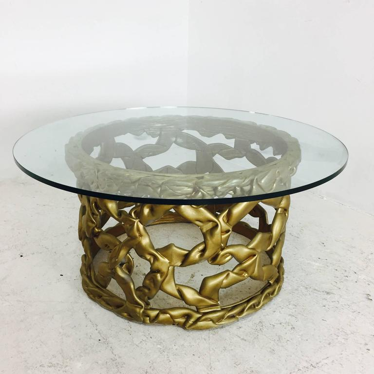 "Mid-Century Modern Gold ""Ribbon"" Coffee Table by Tony Duquette For Sale"