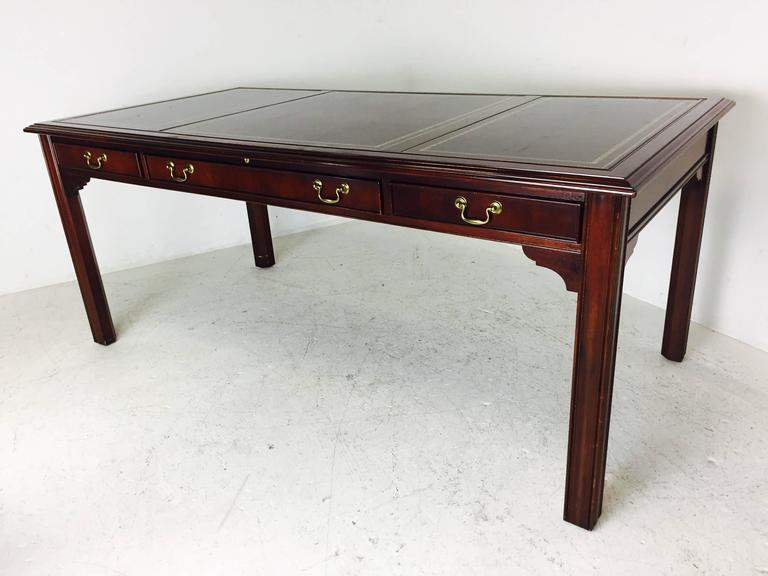 Writing desk with leather panel top by sligh for sale at