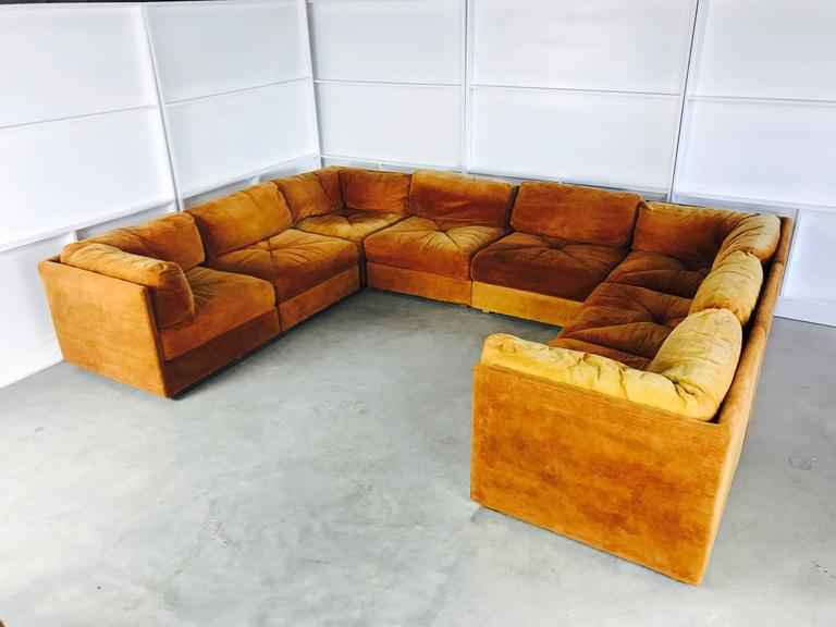 Ten Piece Sectional Sofa Pit In The Style Of Milo Baughman By Selig. This