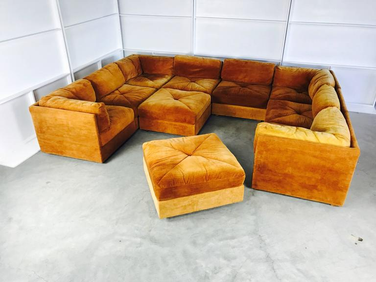 Ten Piece Sectional Sofa Pit In The Style Milo Baughman By