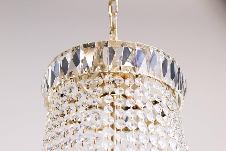 Mid-Century Modern Nine-Light Crystal Chandelier For Sale