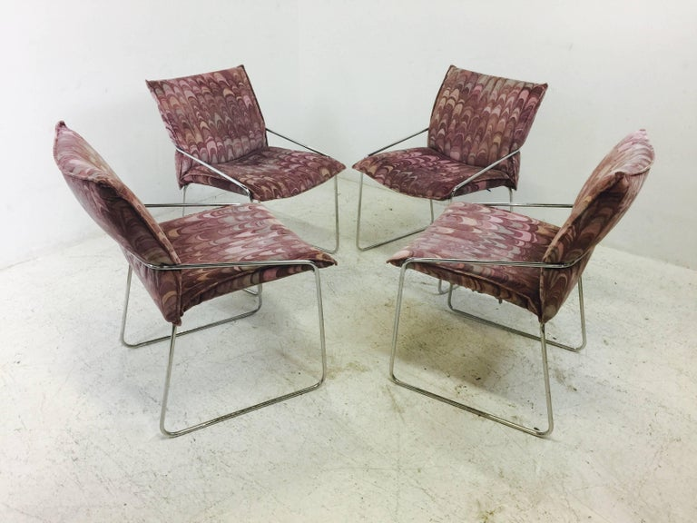 Set of four Modern chrome dining chairs with Jack Lenorr Larsen Fabric. In good vintage condition with wear due to age and use, circa 1970s  Dimensions: 19