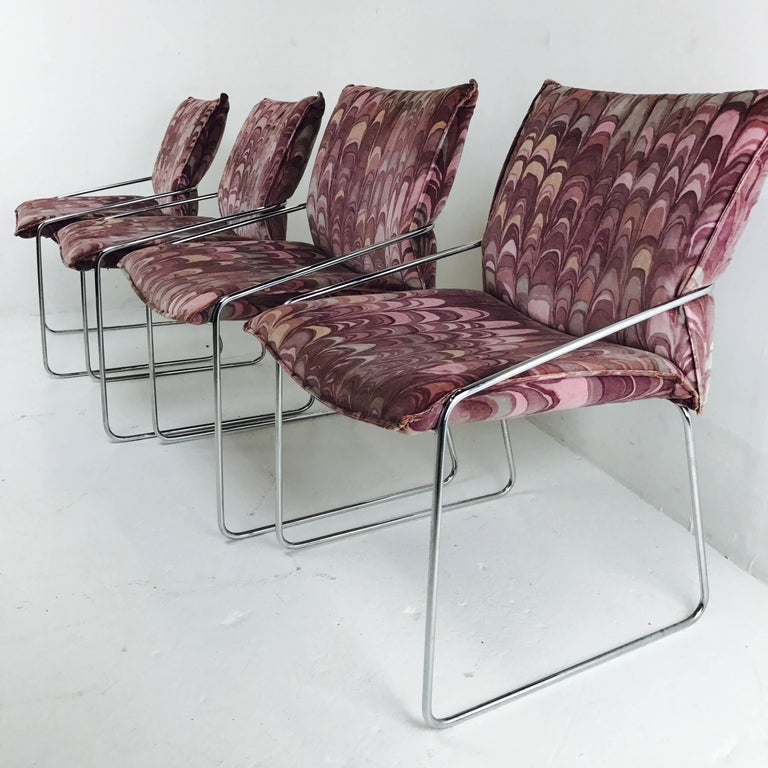 Set of Four Modern Chrome Dining Chairs with Jack Lenor Larsen Fabric In Good Condition For Sale In Dallas, TX