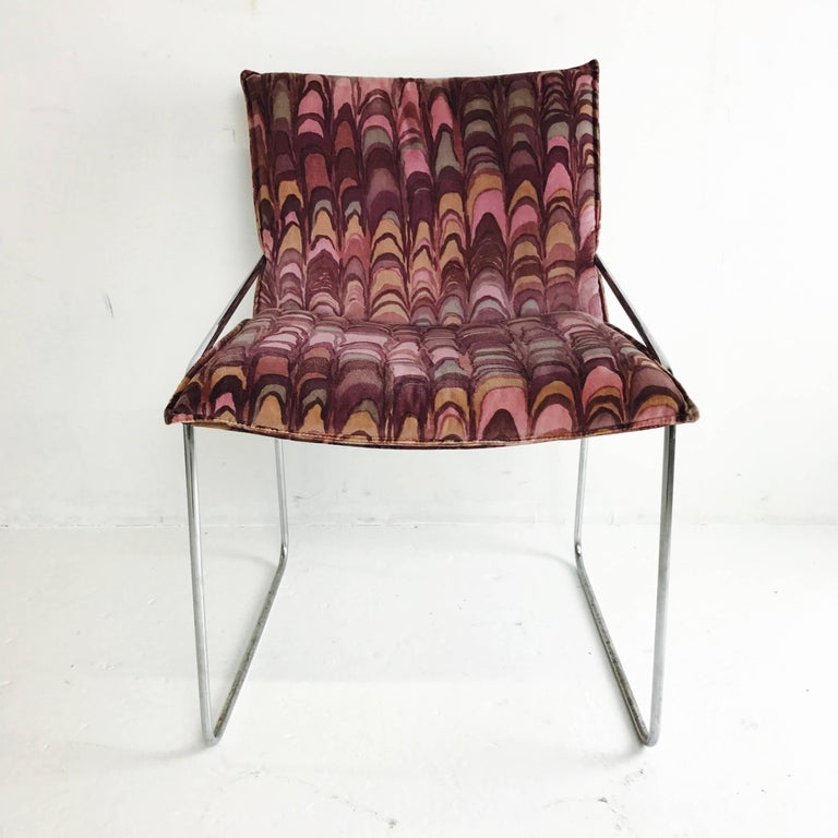 20th Century Set of Four Modern Chrome Dining Chairs with Jack Lenor Larsen Fabric For Sale