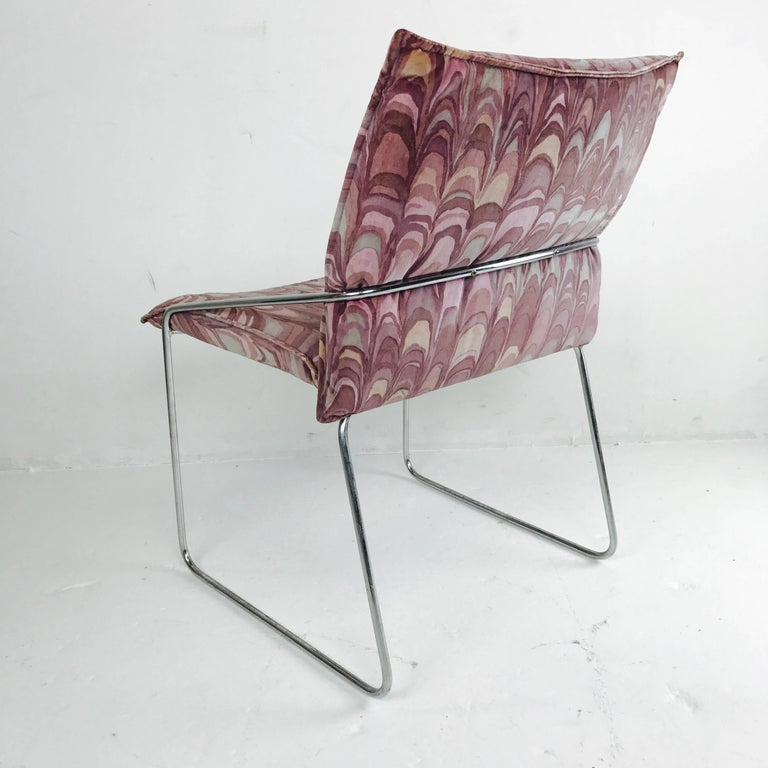 Set of Four Modern Chrome Dining Chairs with Jack Lenor Larsen Fabric For Sale 2
