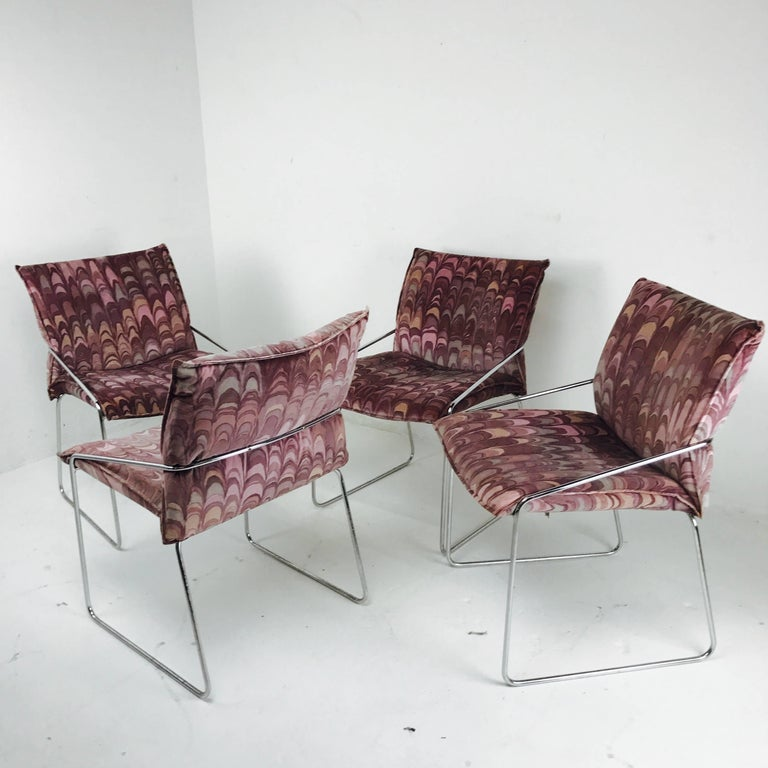 Plated Set of Four Modern Chrome Dining Chairs with Jack Lenor Larsen Fabric For Sale