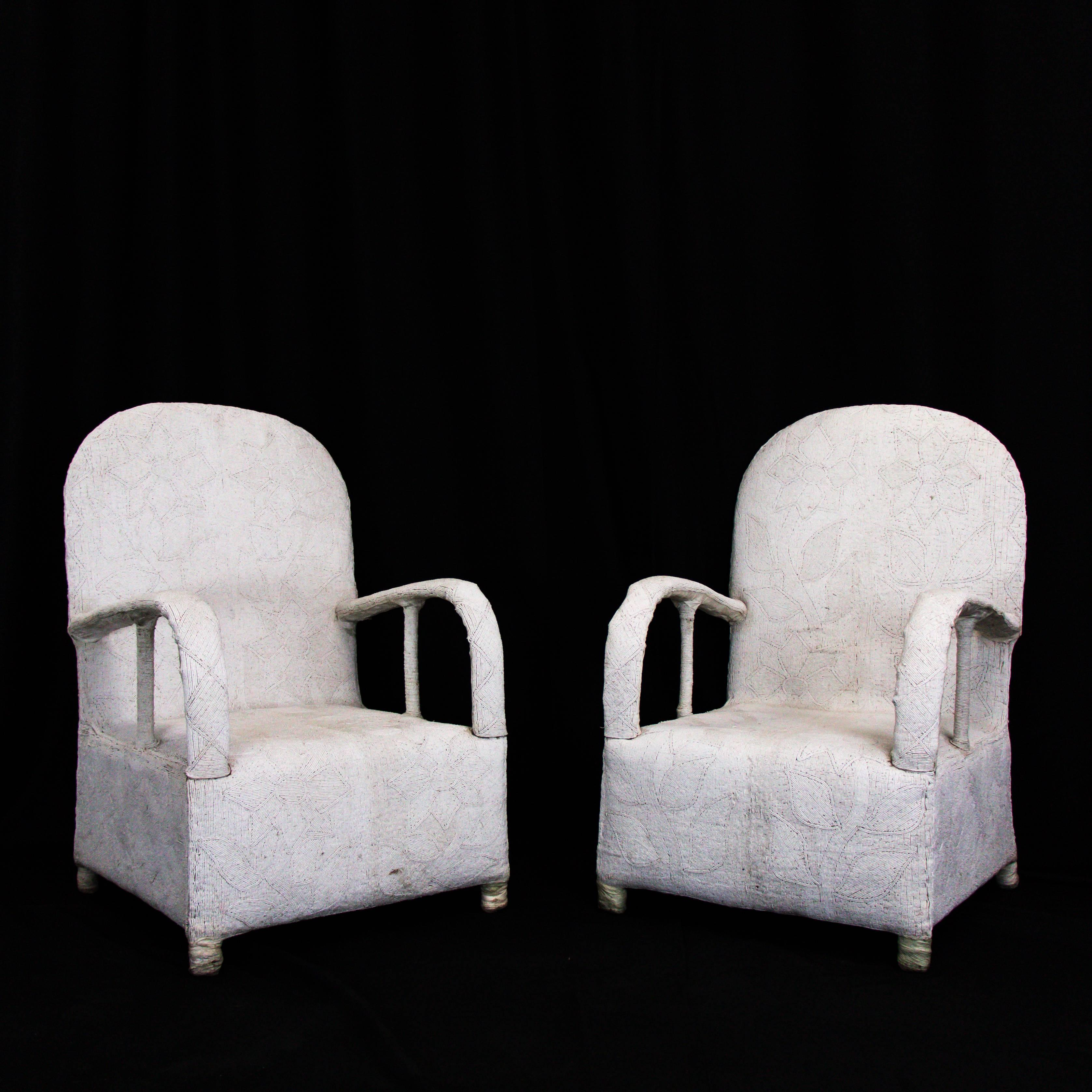 Pair Of Nigerian Yoruba Tribal Beaded African Chairs. Add A Piece Of Drama  To Your