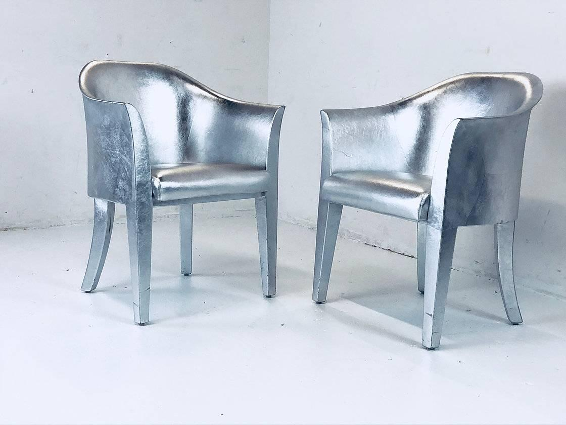 Pair Of Metallic Silver Leather Armchairs Signed Karl Springer, Circa 1990s  Dimensions: 25