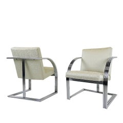 Pair of Milo Baughman T-Back Deco Style Armchairs