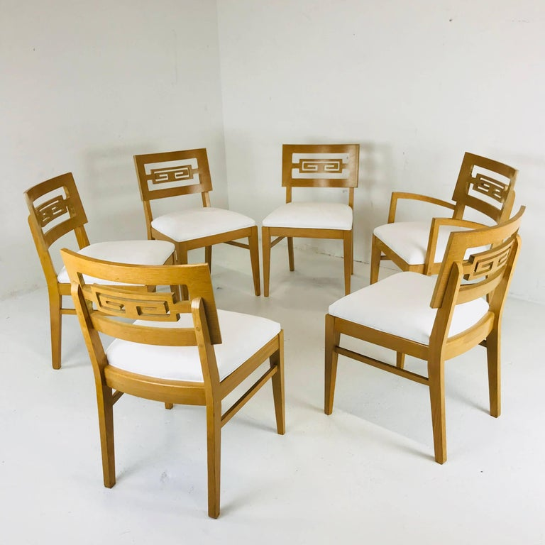 Set of Six Oak Midcentury Greek Key Dining Chairs In Good Condition In Dallas, TX