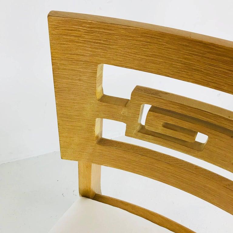 Set of Six Oak Midcentury Greek Key Dining Chairs 4