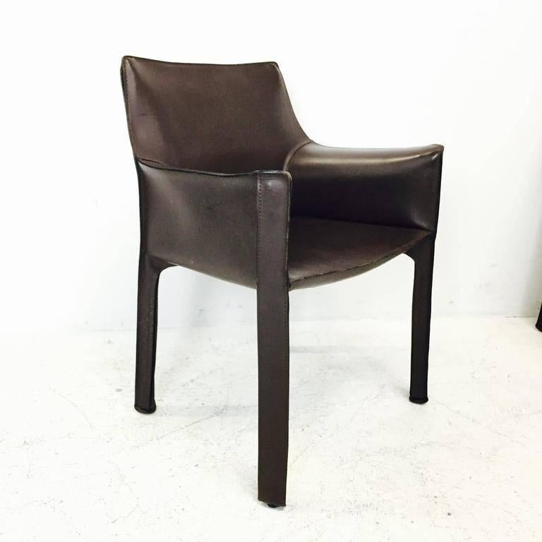 Mario Bellini Cab Espresso Leather Chairs. The Set Consists Of Two  Armchairs And Six Armless
